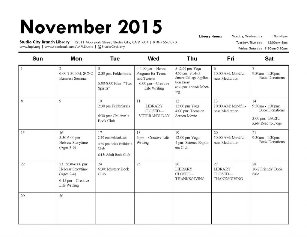 Studio City Library November Calendar of Events